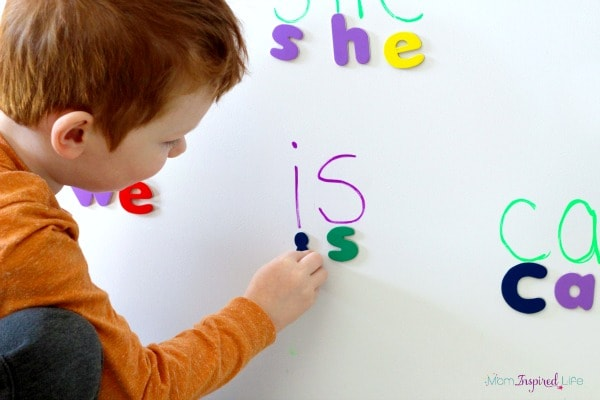 Spelling Sight Words with Magnetic Letters - word with the letters