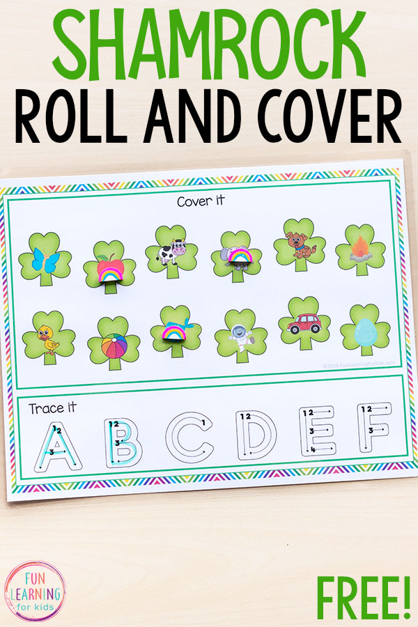 Shamrock Roll and Cover Letter Sounds Activity for St Patrick\u0027s Day