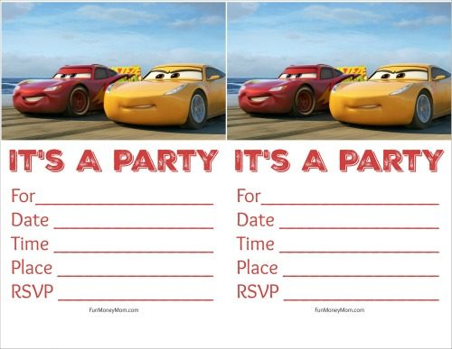 Free Printable Cars Birthday Invitations - Fun Money Mom