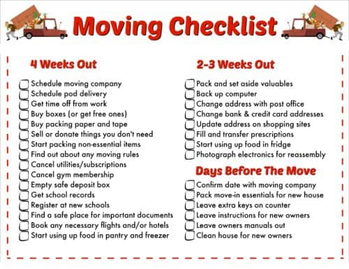 The Must-Have Printable Moving Checklist Fun Money Mom