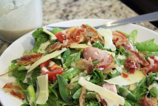 Crispy Pancetta Salad with Sugar Snap Peas