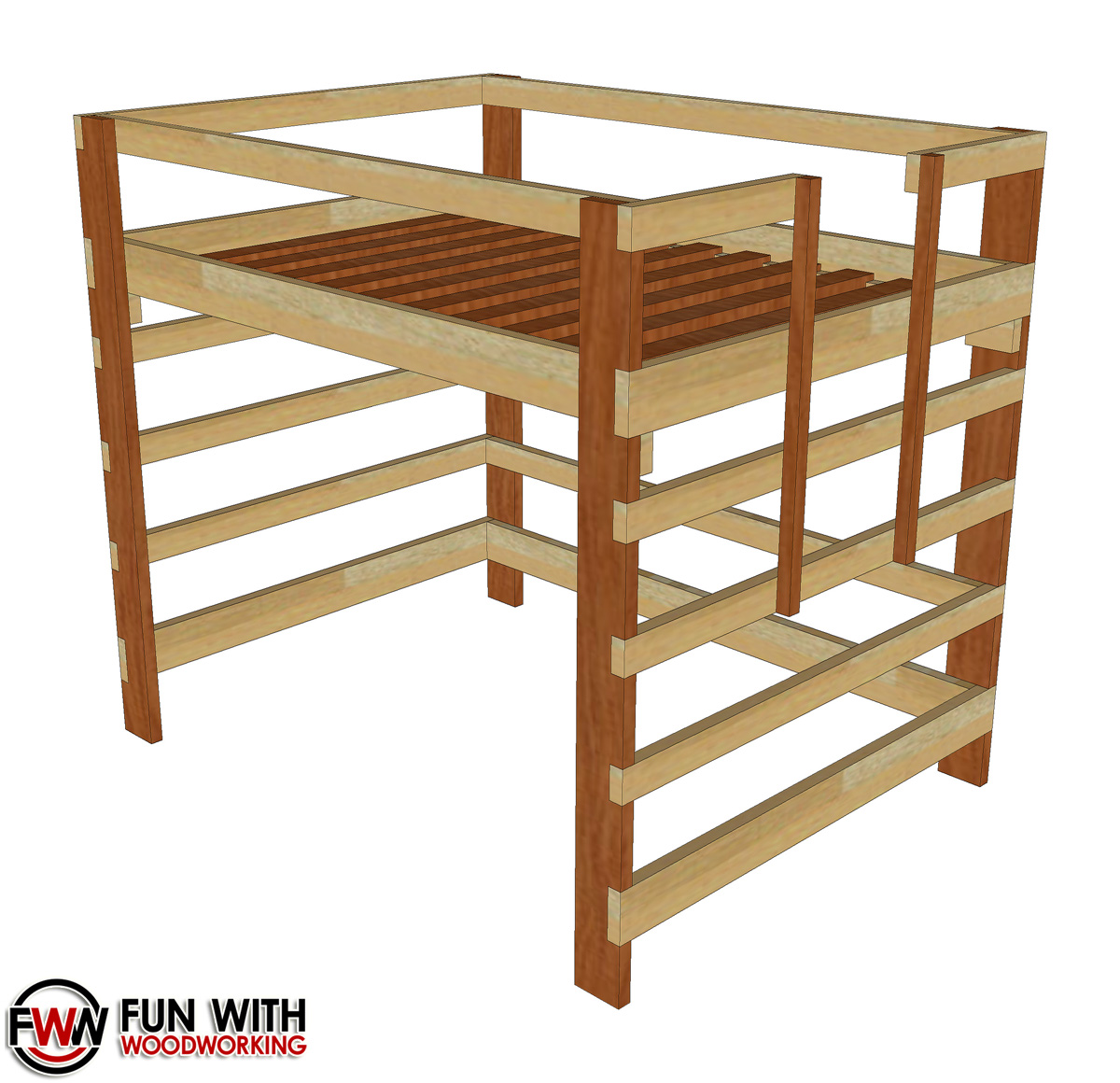 Wood Loft Twin Size Loft Bed Full Plans Fun With Woodworking