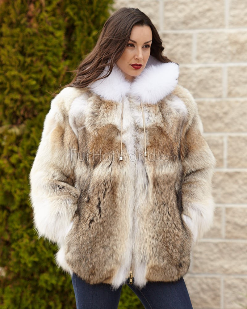 Fur Womens The Abby Coyote Fur Parka Coat With Hood For Women