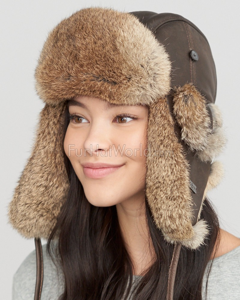 Fur Womens Womens Vintage Rodeo Leather Rabbit Fur Trapper Hat