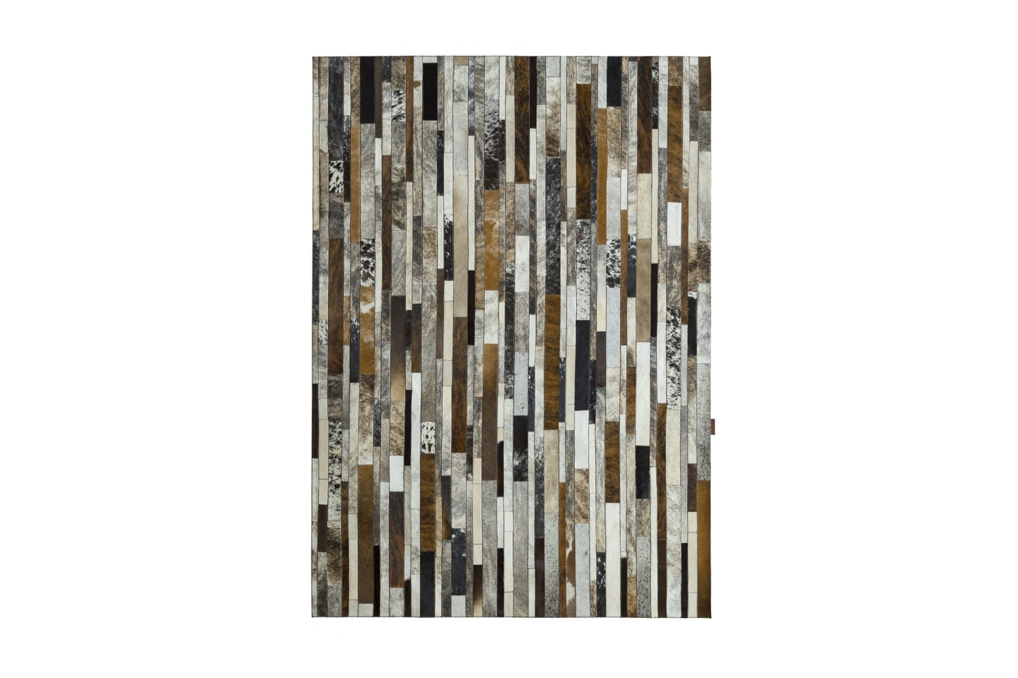 Lederteppich Grau Patchwork Cowhide Rug Stripes Grey Ivory Brown Fur Home