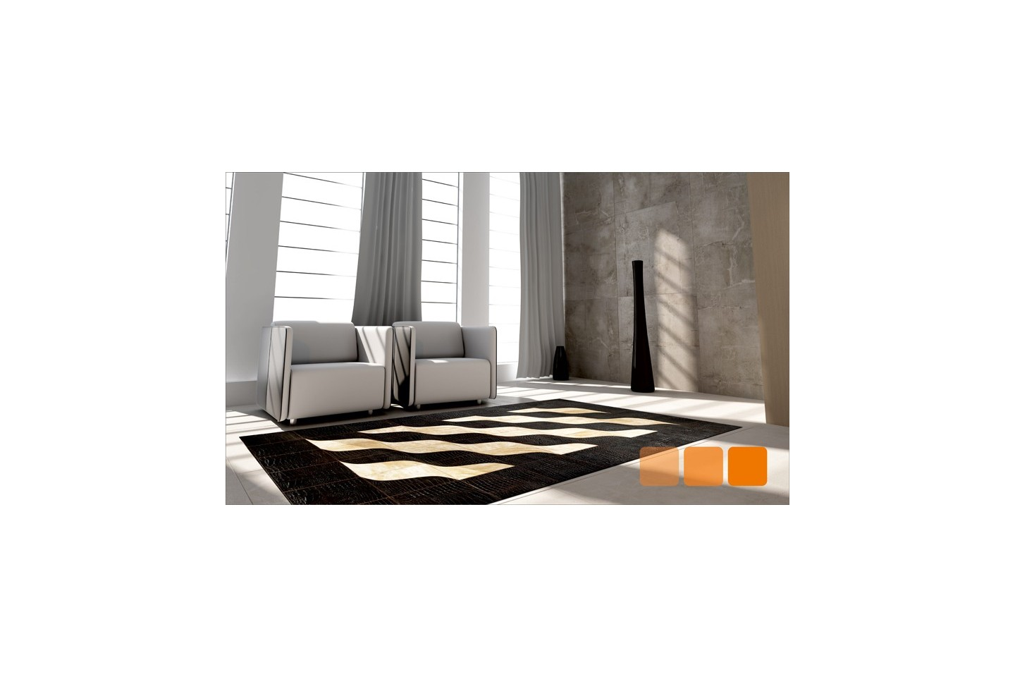 Linie Design Kuhfell Teppich Patchwork Cowhide Rug K 1493 Waves Of Smiles Duo Fur Home