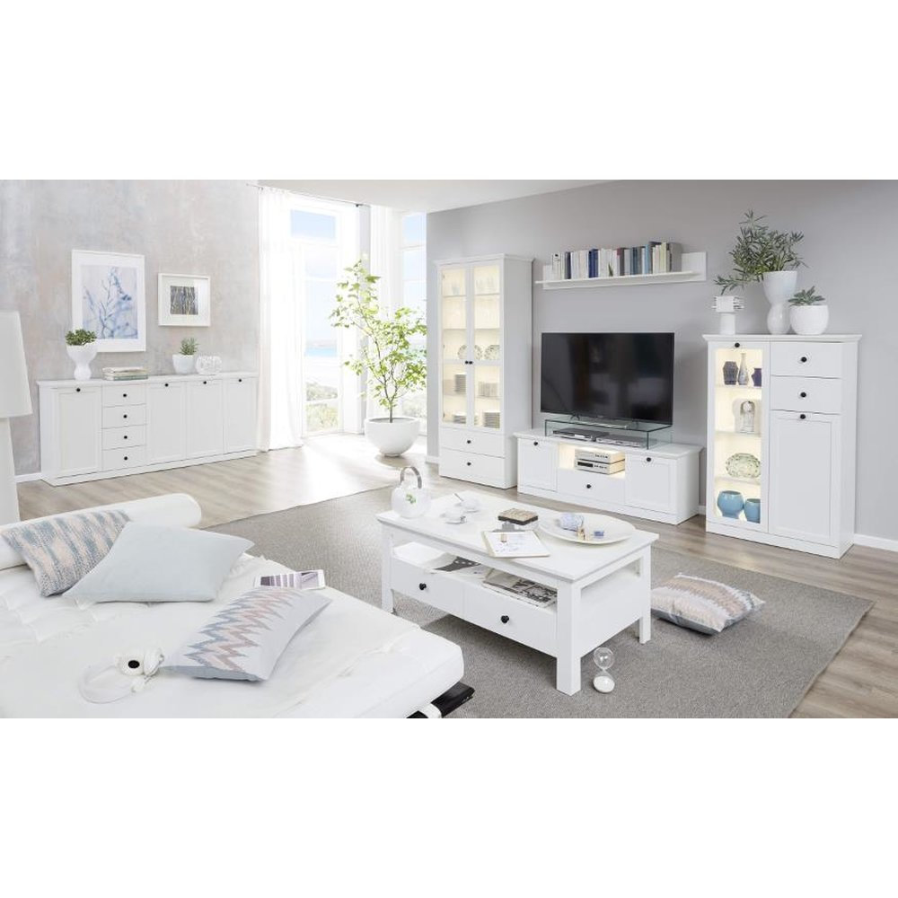 Wohnzimmer Set Landhaus Wohnzimmer Kombination Landhaus Weiß 4 Teiliges Set Vitrine Tv Unterteil Wandregal Und Highboard 331 Cm Baxter