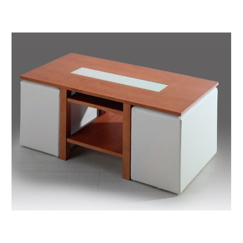 Mesa Centro Elevable Color Cerezo Mesa De Centro Elevable Mod. Roma (puffs Incluidos) - Furnet