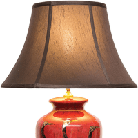 Red Lacquer Table Lamp with Gold Cranes | Table and ...