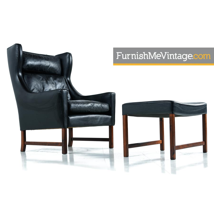 Leather Lounge Fredrik Kayser Black Leather And Rosewood Wingback Lounge Chair And Ottoman