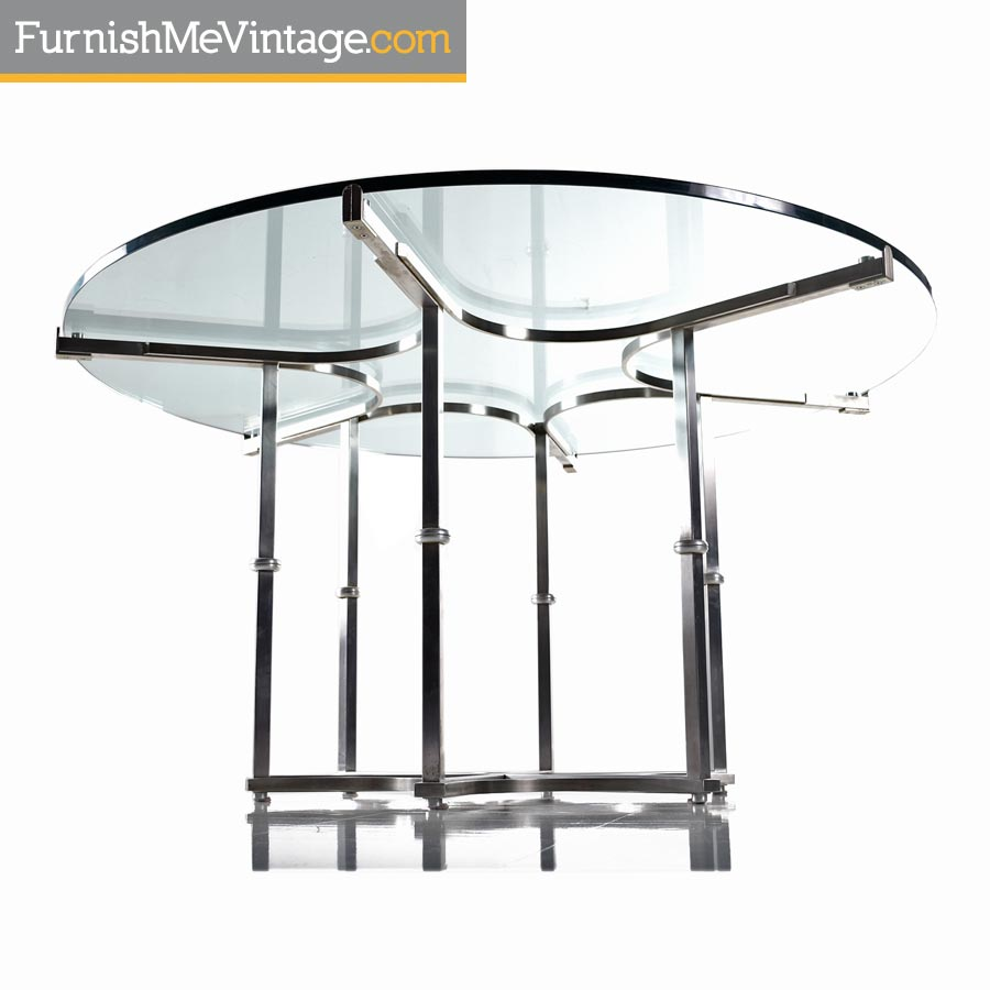Modern Round Glass Dining Table Baughman Style Chrome And Glass Modern Round Dining Table