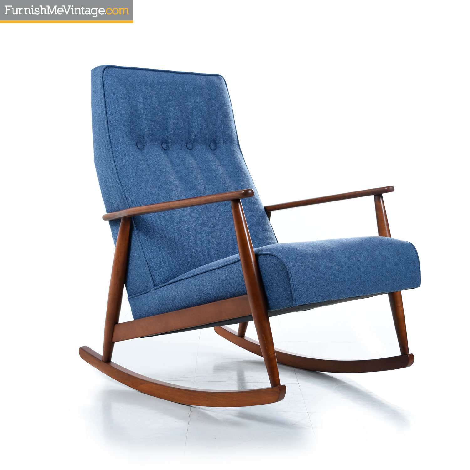 The Furnish German Beech Mid Century Modern Blue Rocking Chair
