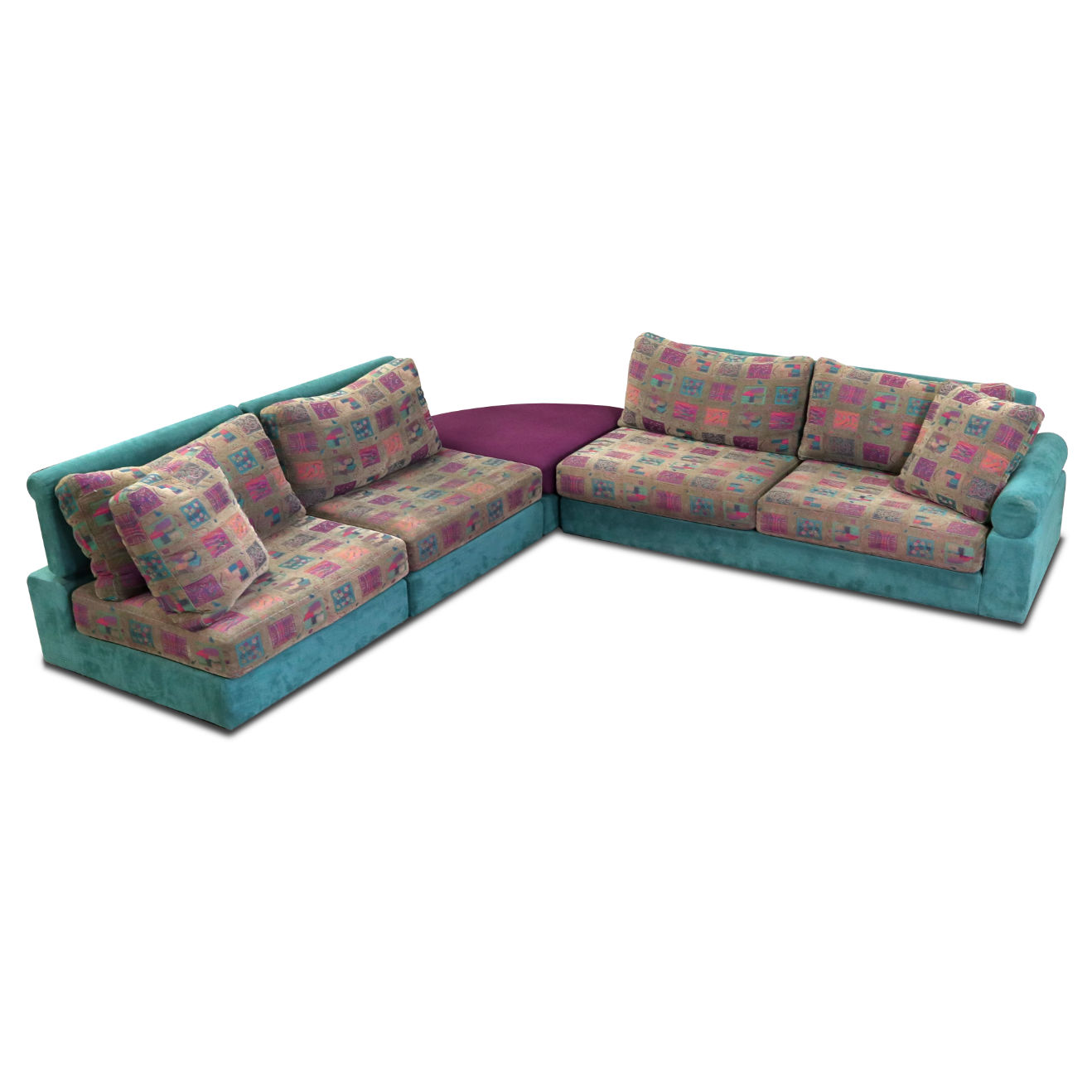 Adjustable Modern Dellarobbia Sectional Sofa In Teal And Purple Fabric