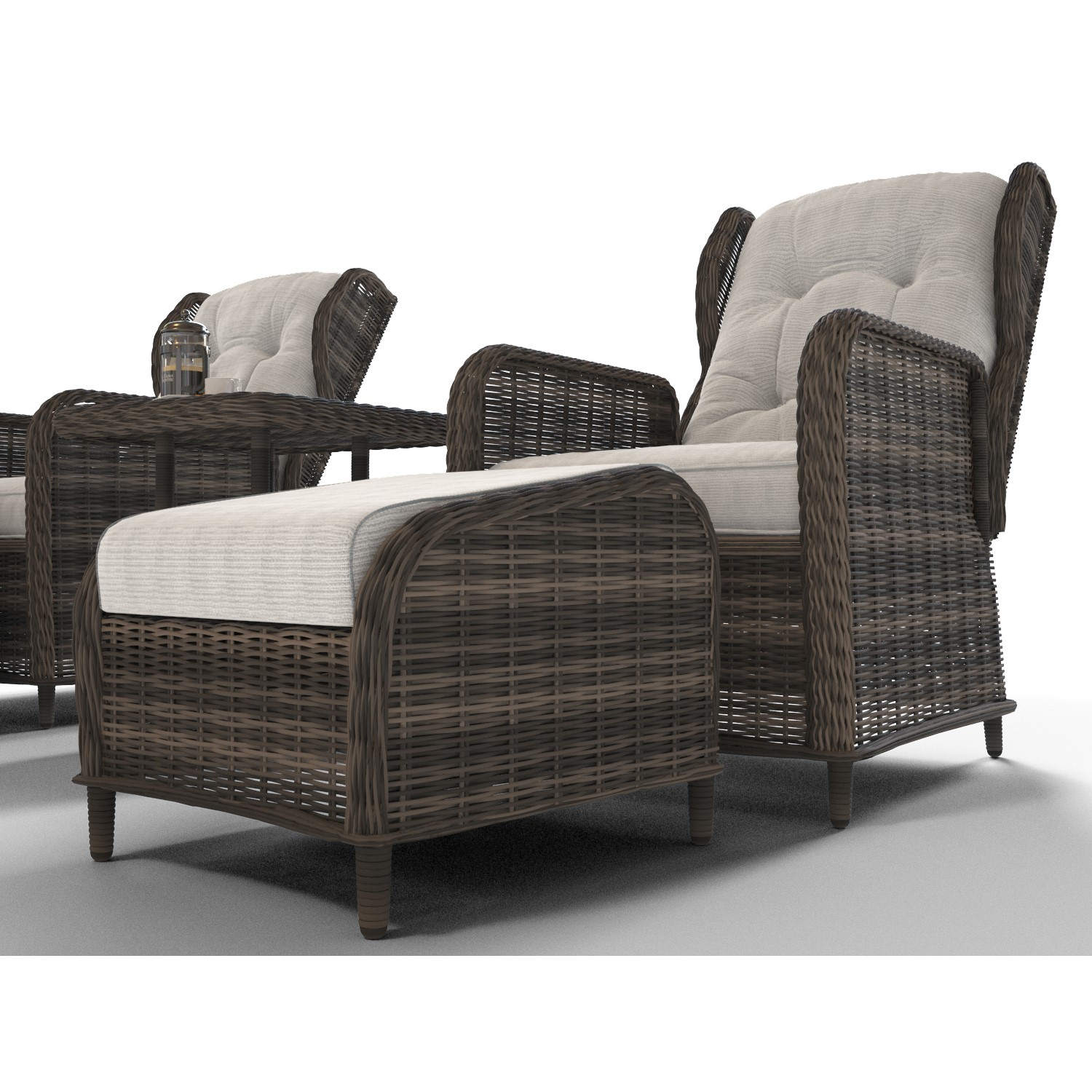 Reclining Rattan Conservatory Set In Brown With Table Footstools Aspen Range Furniture123