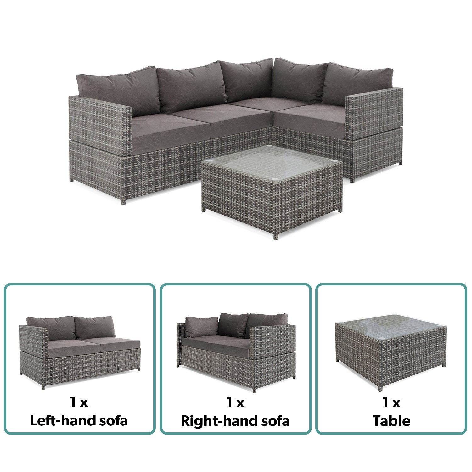 Grey Rattan Corner Sofa And Table Set Fortrose Furniture123