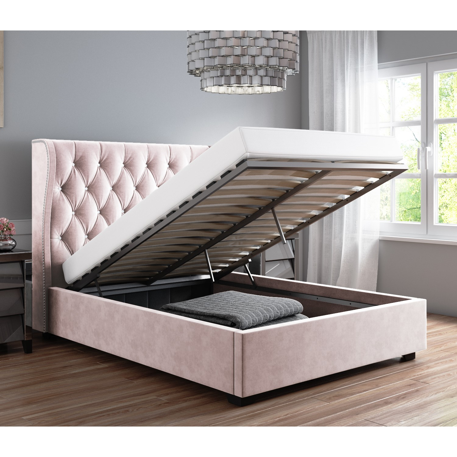 Safina Diamante Wing Back Double Ottoman Bed In Light Pink Velvet Furniture123