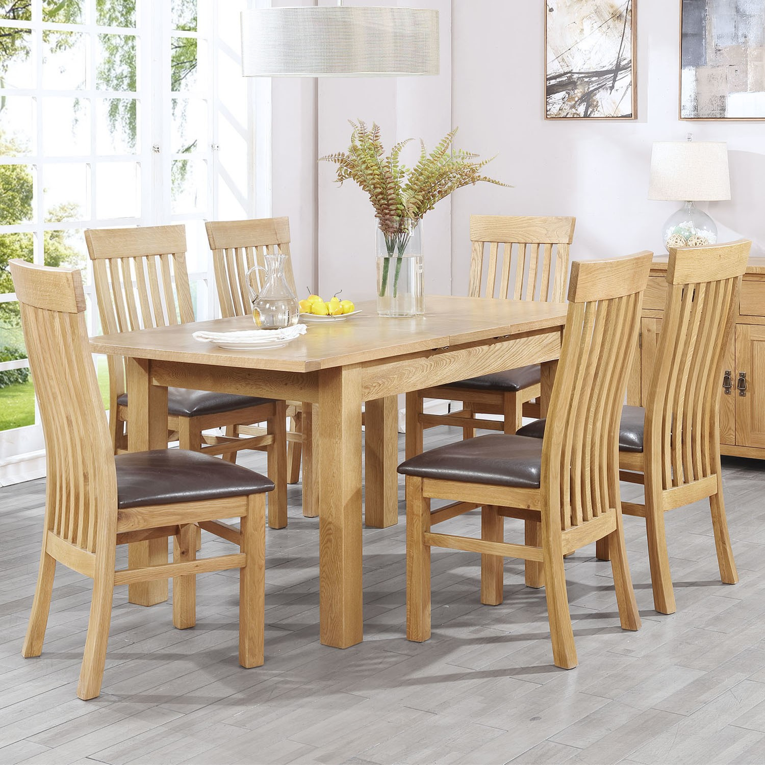 Dining Room Furniture Rustic Extendable Solid Oak Dining Table And 6 Chairs Rustic Saxon Range