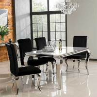 Louis Mirrored Dining Table with White Glass Top - Seats 4 ...
