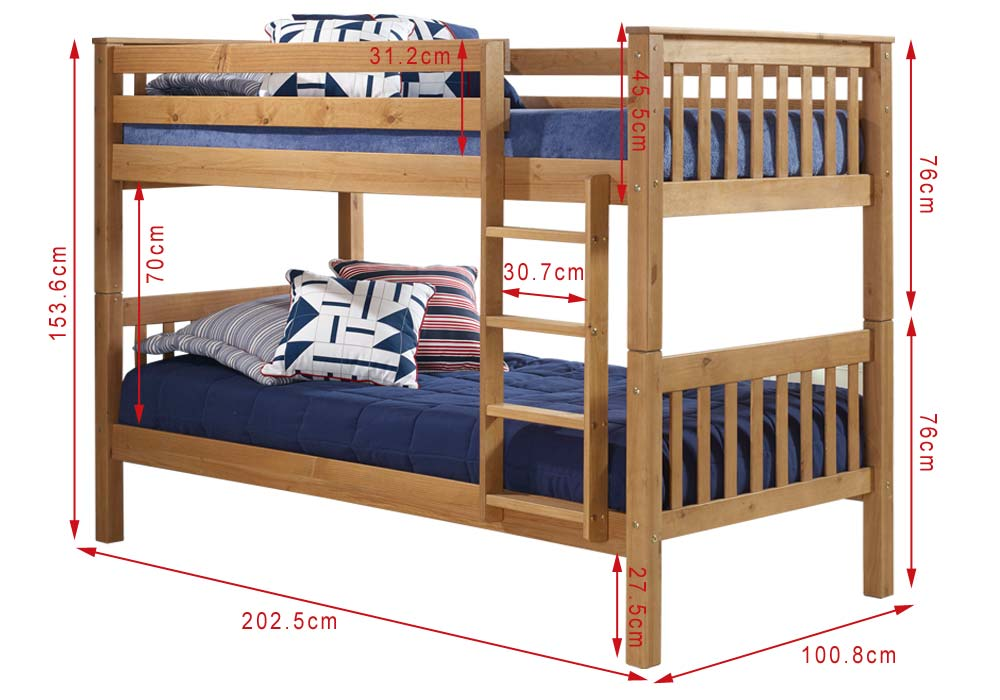 Oxford Pine Single Bunk Bed Ladder Fixes To Either Side