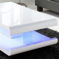 GRADE A1 - Tiffany White High Gloss Coffee Table with LED ...