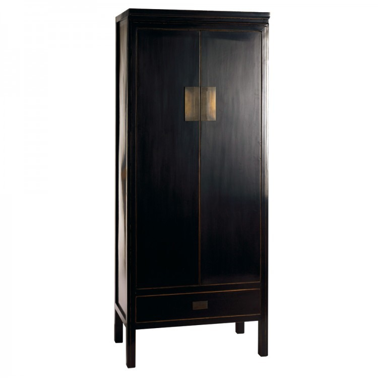 Oriental Black Lacquered Wardrobe
