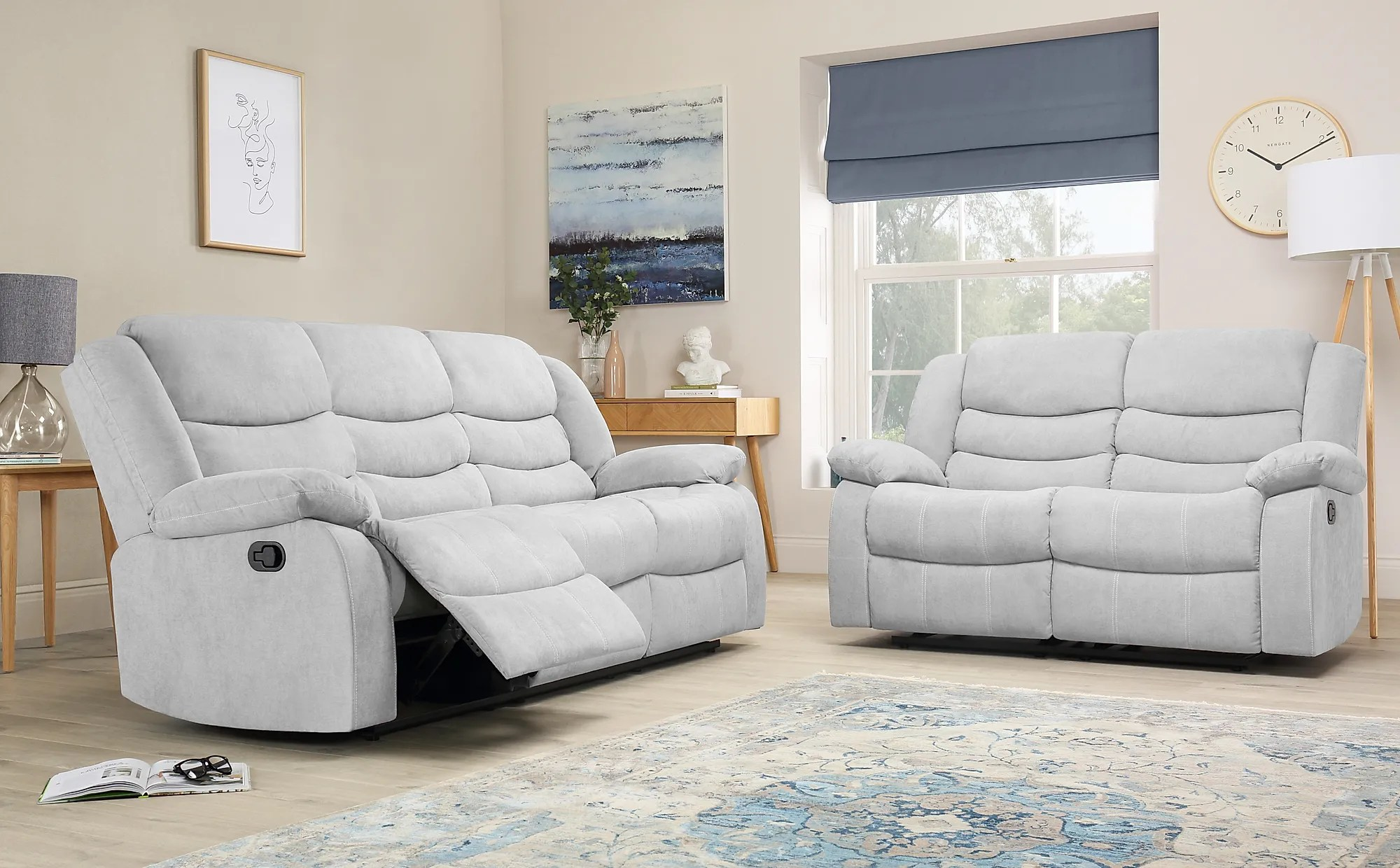 Sorrento Dove Grey Plush Fabric 3 2 Seater Recliner Sofa Set - Lydia 2 Seater Sofa