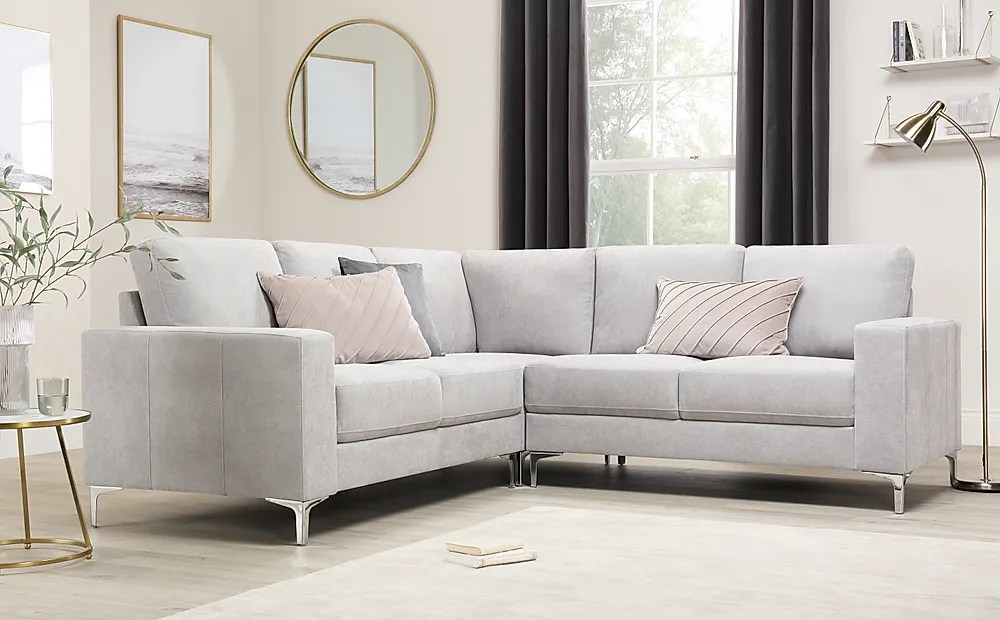 Ecksofa Grau Stoff Baltimore Dove Grey Plush Fabric Corner Sofa | Furniture