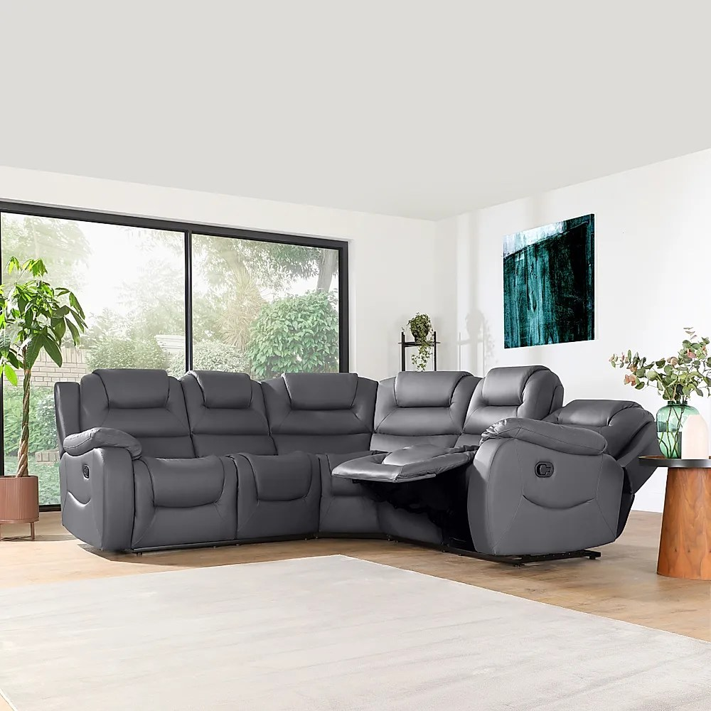 Vancouver Grey Leather Recliner Corner Sofa Furniture And Choice