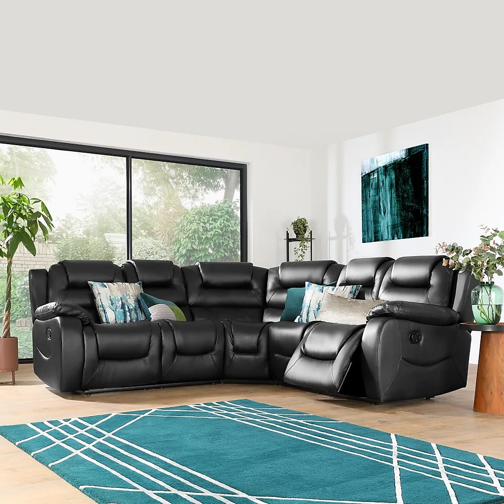 Vancouver Black Leather Recliner Corner Sofa Furniture And Choice