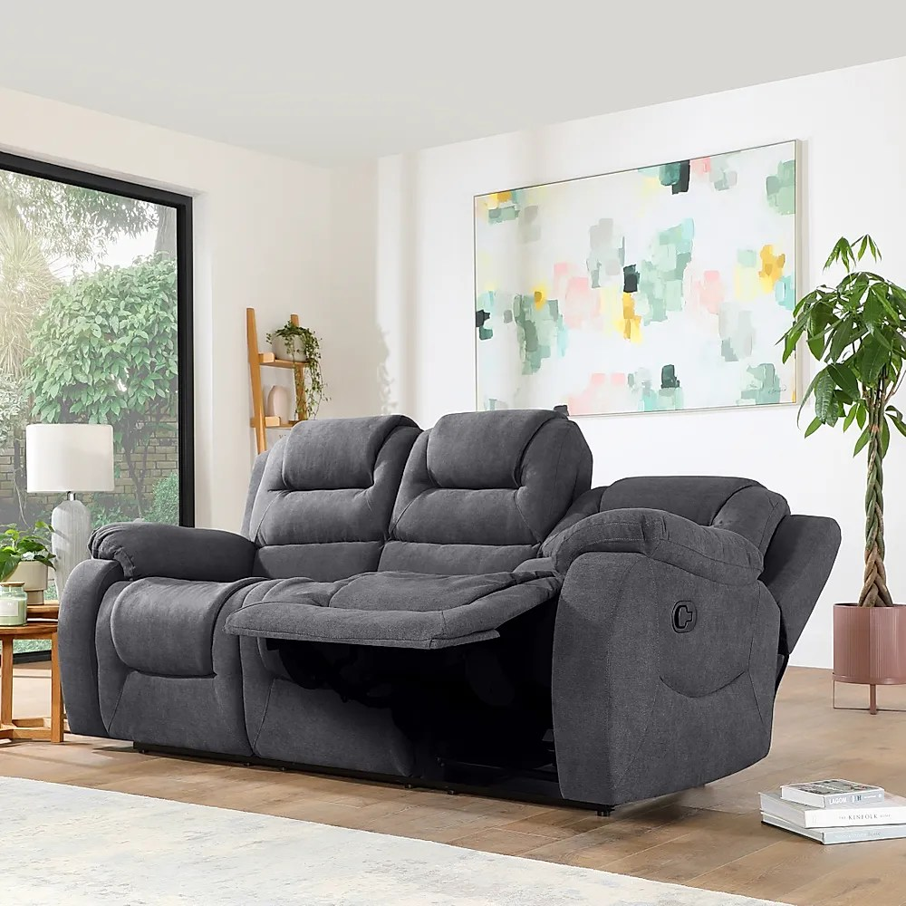 Vancouver Slate Grey Plush Fabric 3 Seater Recliner Sofa Furniture And Choice