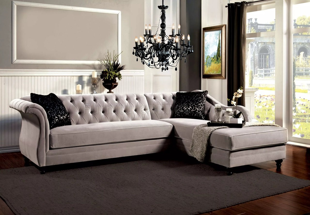 L Shaped Sofa Victorian Rotterdam Sectional Sofa Sm2261 In Warm Gray Velvet Fabric