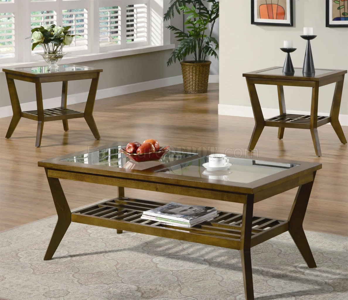 Glass End Tables Set Oak Finish Modern 3pc Coffee Table Set W Glass Tops