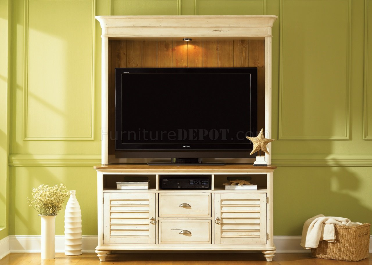 Pine Entertainment Unit Bisque With Natural Pine Finish Contemporary Entertainment