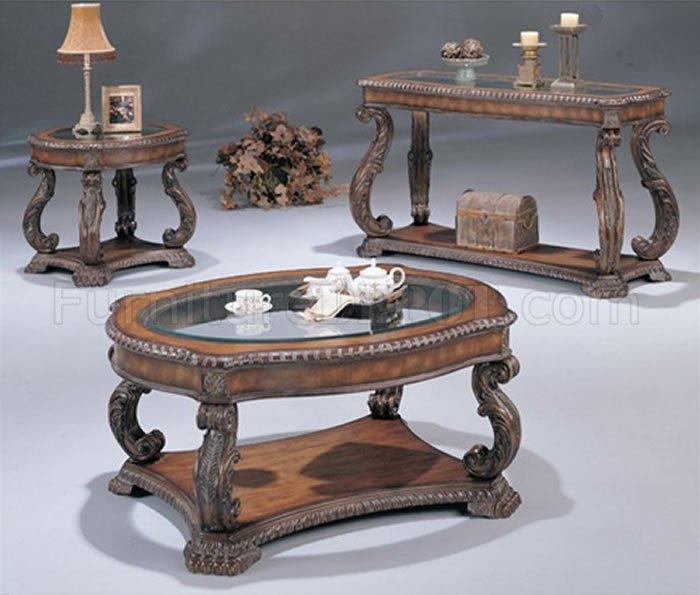 Couchtisch Klassisch Holz Antique Cherry Traditional Coffee Table With Glass Inlays