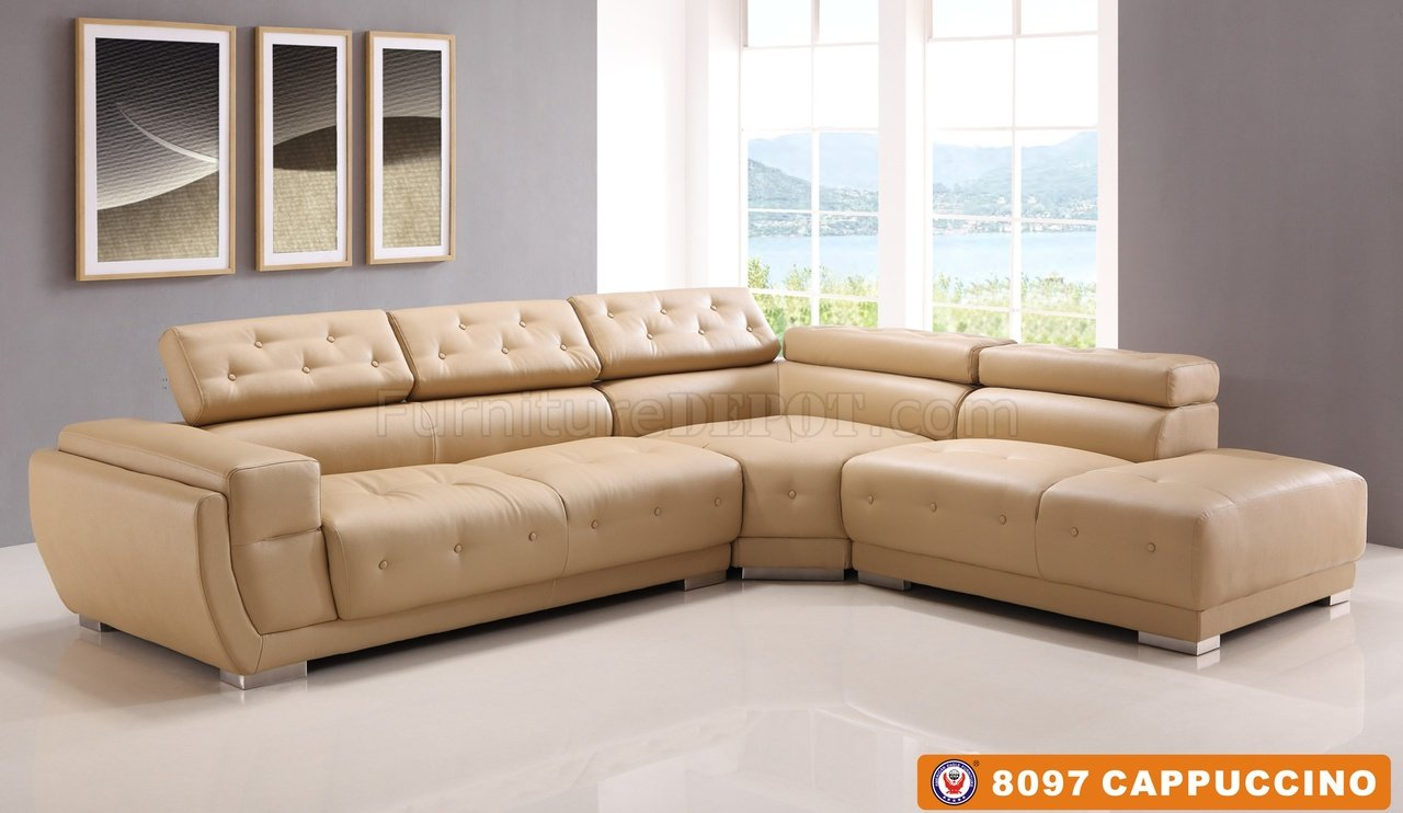 Couch Leder Cappuccino 8097 Sectional Sofa Cappuccino Bonded Leather By American Eagle