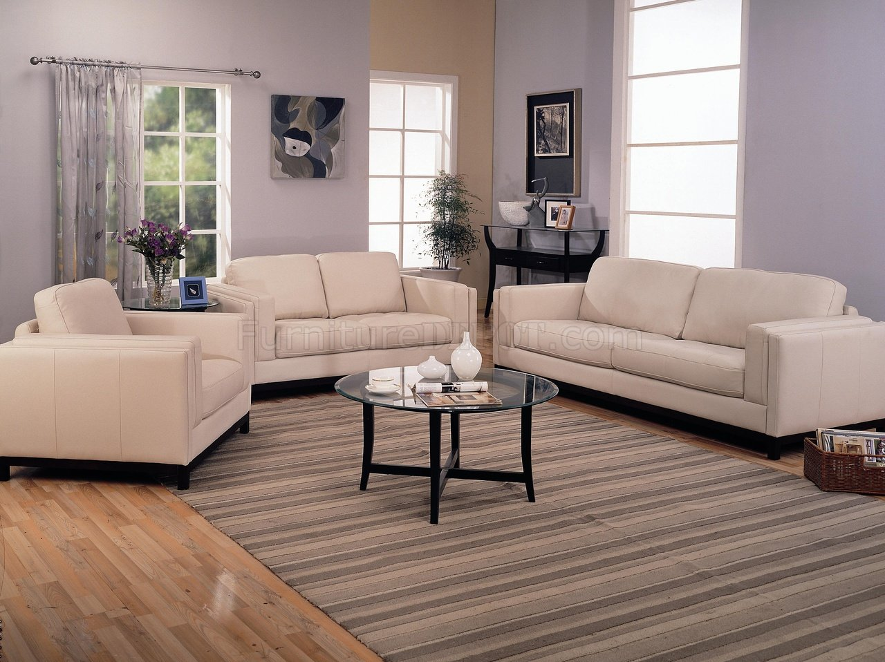 Leather Living Room Furnitures Contemporary Living Room 502461 Cream