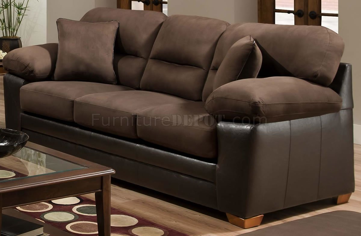Couh Brown Godiva Microfiber Sofa & Loveseat Set W/accent Pillows