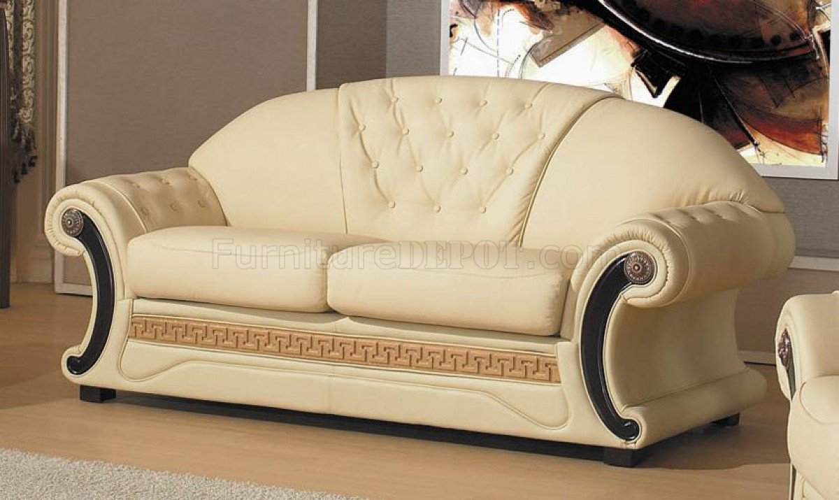 Sofa Set Action Cleopatra Sofa Set 3pc In Beige Half Leather By Vig