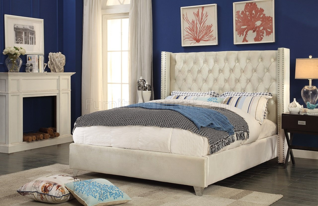 Cream Colored Bunk Beds Aiden Wing Bed In Cream Color Velvet By Meridian W Options