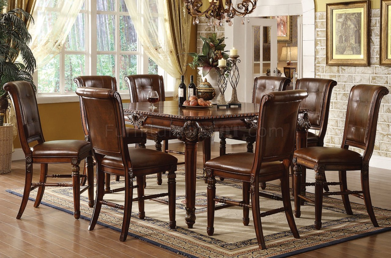 Lounche Dining Set 60080 Winfred Counter Height Dining Table In Cherry By Acme