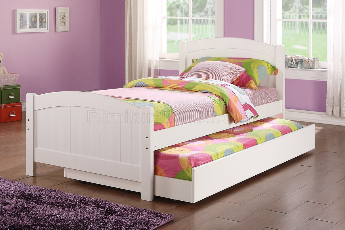 White Trundle Bed F9218 Kids Bedroom 3pc Set By Poundex In White W Trundle Bed