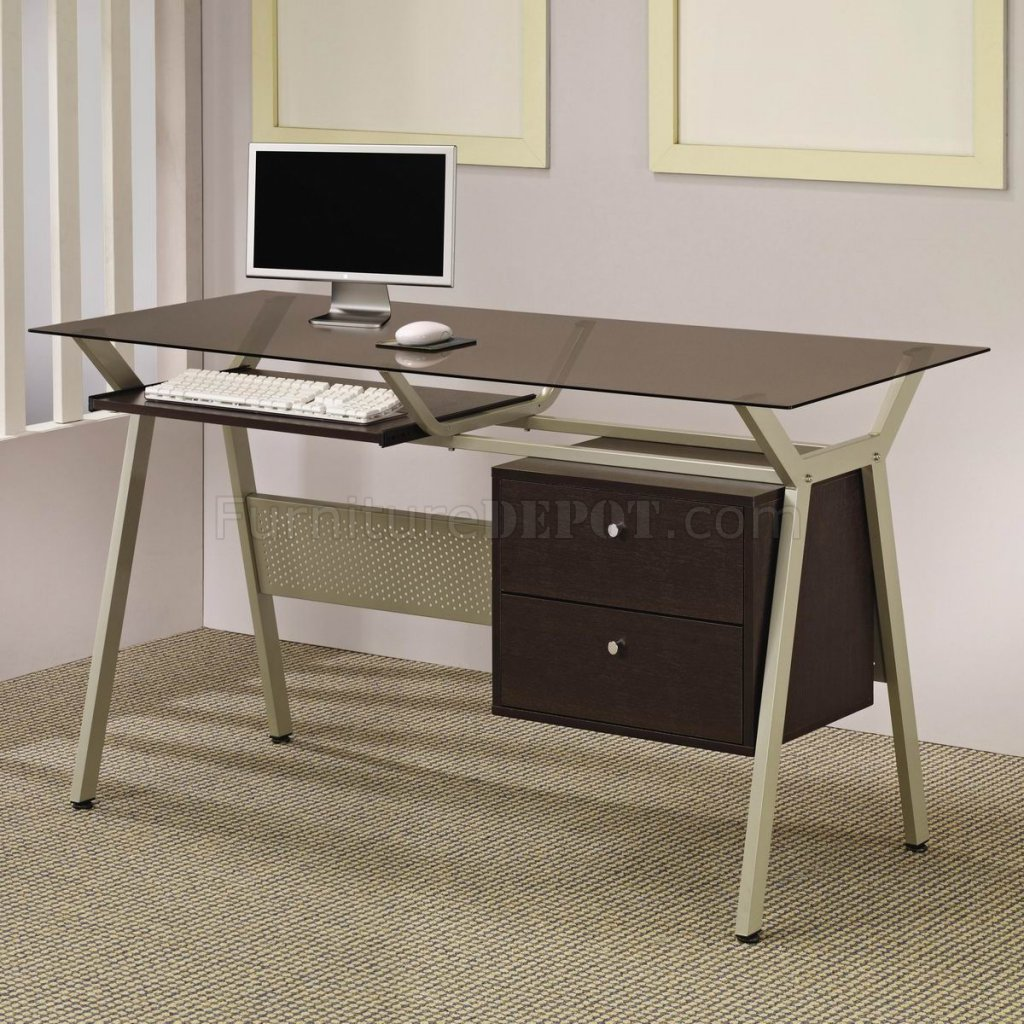 Schreibtisch Glas Metall Metal Base And Smoked Glass Modern Home Office Desk W Two