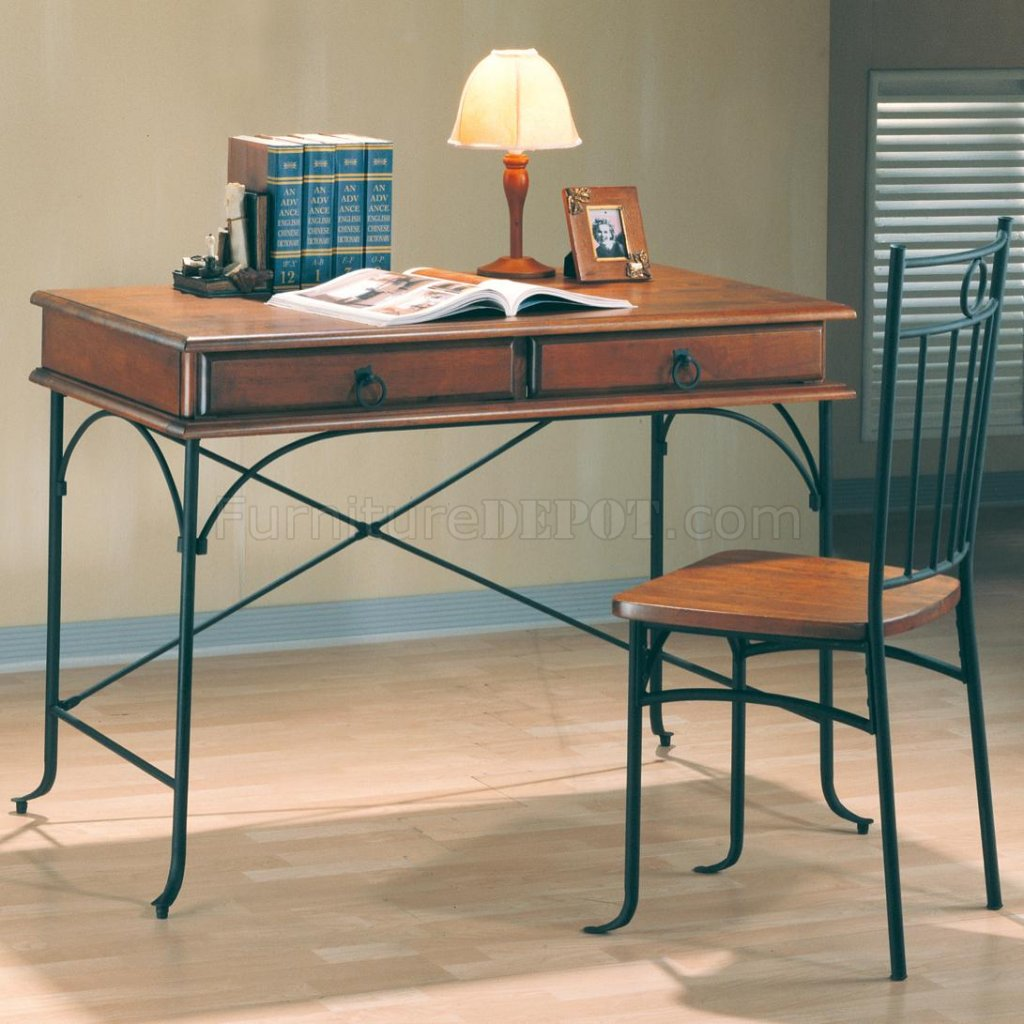 Classic Table Office Warm Wood Dark Metal Two Tone Classic Home Office Desk W Chair