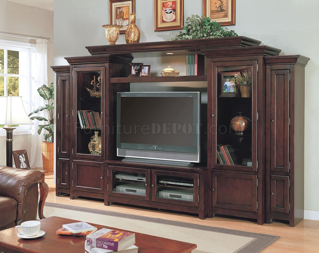 Large Wall Units For Living Room Dark Cherry Large Wall Media Unit W Storages Lighted Bridge