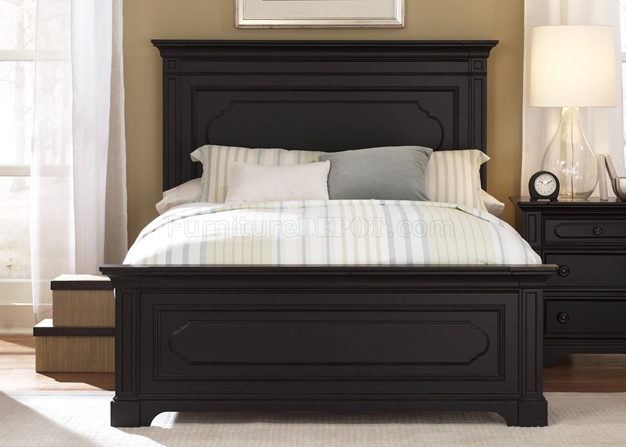 What Is A Panel Bed Black Rubbed Finish Transitional Panel Bed W Optional Case