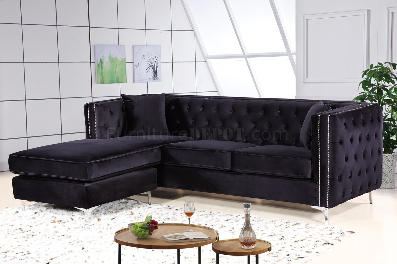 Grey Fabric Chaise Sofa Jesse Sectional Sofa 668 In Black Velvet Fabric By Meridian