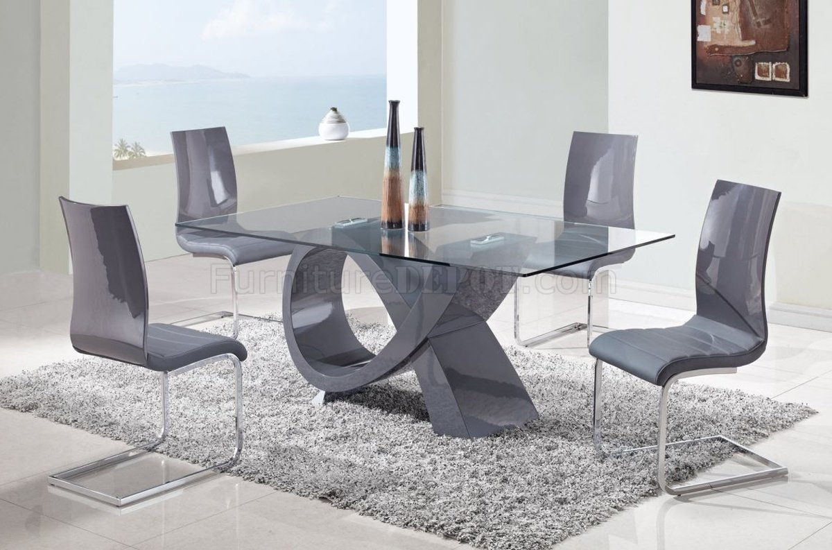 Round Glass Dining Table Canada D989 Dining Table W Glass Top Grey Base By Global W Options