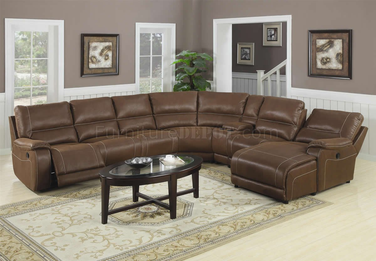 Microfiber Sectional Sofa Brown Suede Like Padded Microfiber Reclining Sectional Sofa