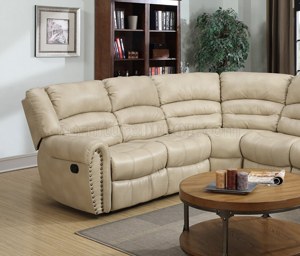 Beige Ledercouch G687 Motion Sectional Sofa In Beige Bonded Leather By Glory