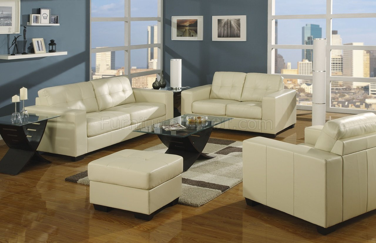 Living Room Furniture Ivory Sofa Ivory Bonded Leather Contemporary Living Room W Tufted Backs